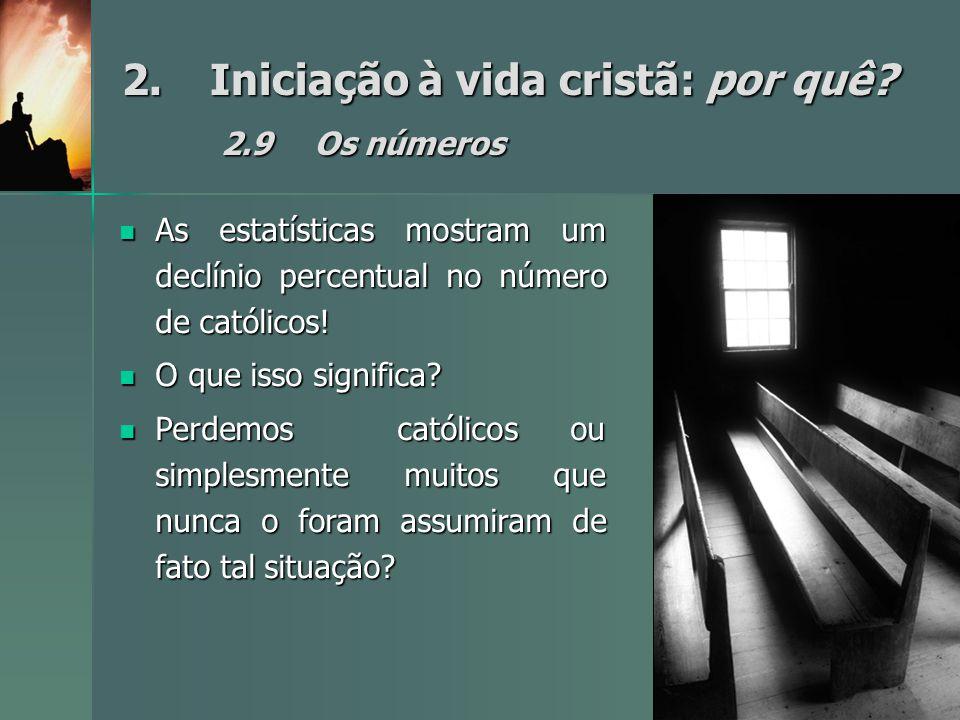 2.Iniciação à vida cristã: por quê? 2.9Os números As estatísticas mostram um declínio percentual no número de católicos! As estatísticas mostram um de