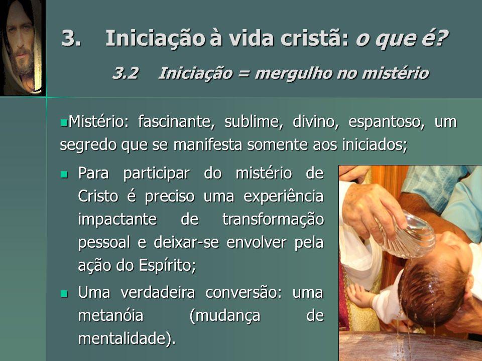 3.Iniciação à vida cristã: o que é? 3.2Iniciação = mergulho no mistério Para participar do mistério de Cristo é preciso uma experiência impactante de