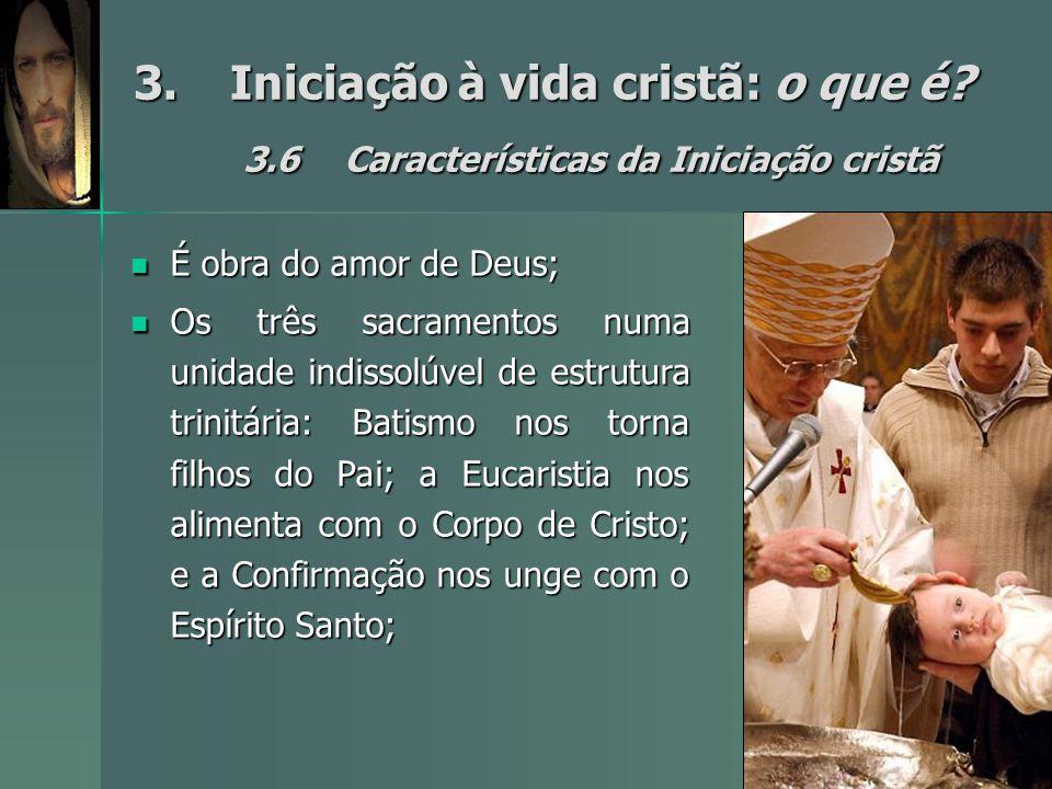 3.Iniciação à vida cristã: o que é? 3.6Características da Iniciação cristã É obra do amor de Deus; É obra do amor de Deus; Os três sacramentos numa un