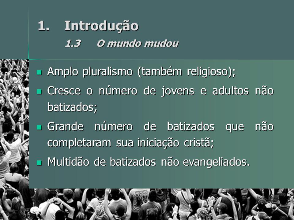 1.Introdução 1.3O mundo mudou Amplo pluralismo (também religioso); Amplo pluralismo (também religioso); Cresce o número de jovens e adultos não batiza