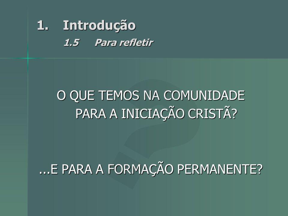 1.Introdução 1.5Para refletir O QUE TEMOS NA COMUNIDADE PARA A INICIAÇÃO CRISTÃ?...E PARA A FORMAÇÃO PERMANENTE?