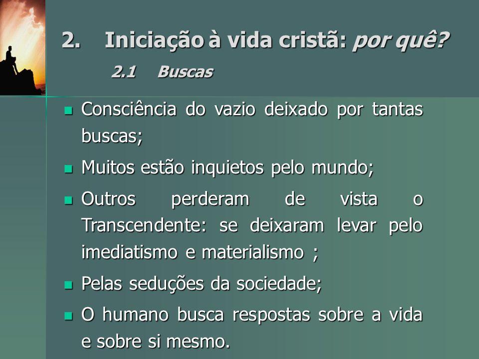 2.Iniciação à vida cristã: por quê? 2.1Buscas Consciência do vazio deixado por tantas buscas; Consciência do vazio deixado por tantas buscas; Muitos e