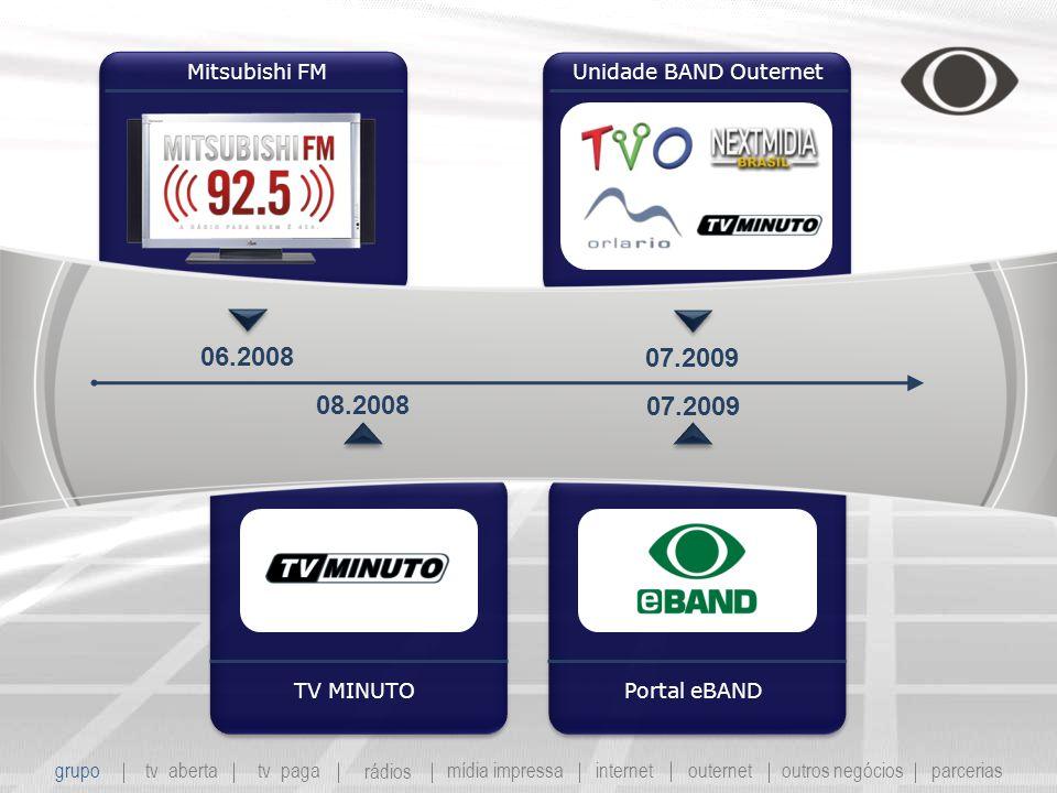 Mitsubishi FM TV MINUTO Unidade BAND Outernet Portal eBAND 06.2008 08.2008 07.2009 grupo tv abertatv paga rádios mídia impressaoutros negóciosparcerias internet outernet