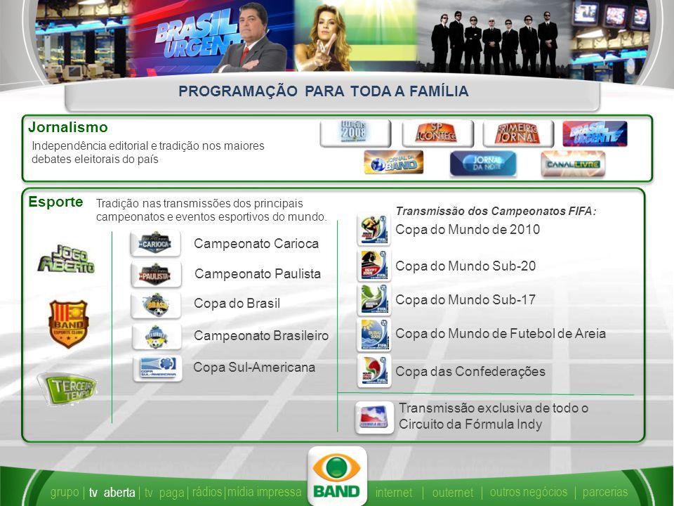 Jornalismo Independência editorial e tradição nos maiores debates eleitorais do país Esporte Tradição nas transmissões dos principais campeonatos e eventos esportivos do mundo.