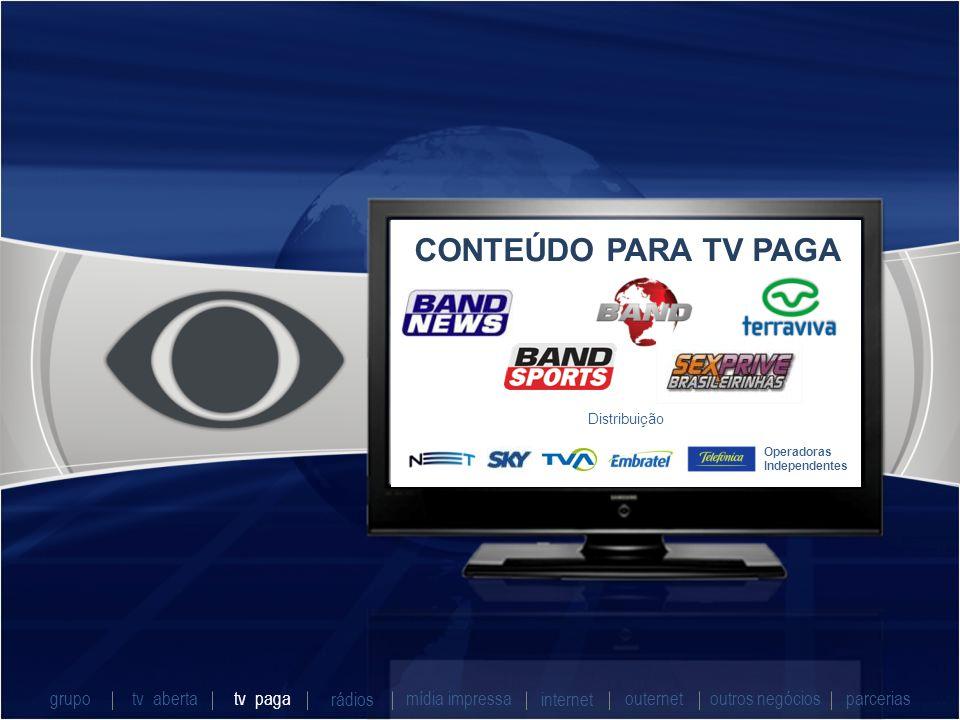 CONTEÚDO PARA TV PAGA Operadoras Independentes Distribuição grupo tv abertatv paga rádios mídia impressaoutros negóciosparcerias internet outernet