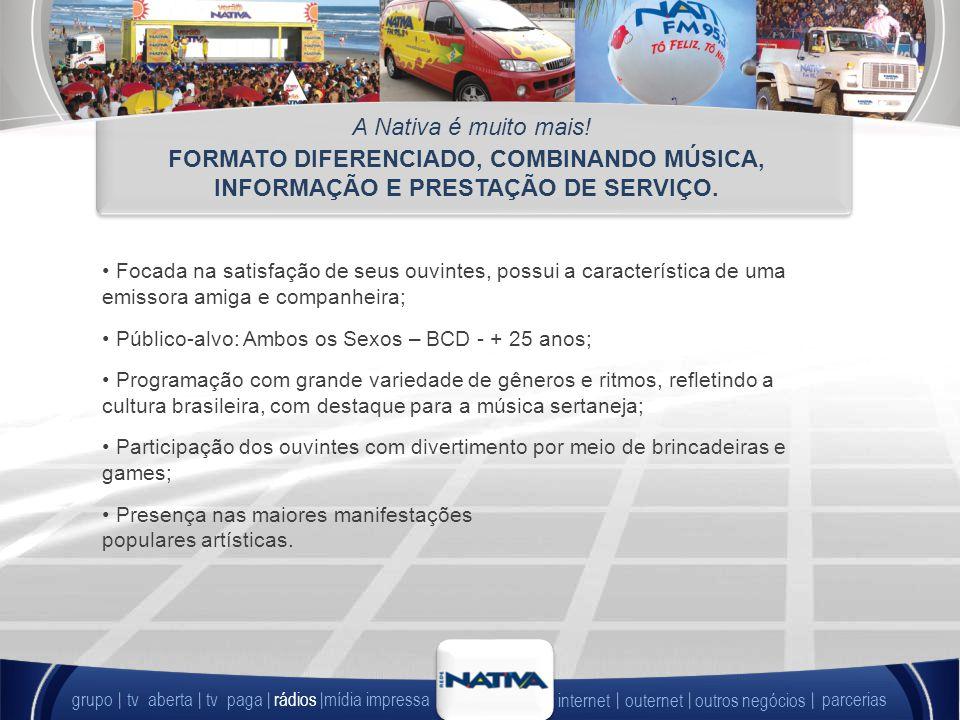 FORMATO DIFERENCIADO, COMBINANDO MÚSICA, INFORMAÇÃO E PRESTAÇÃO DE SERVIÇO.