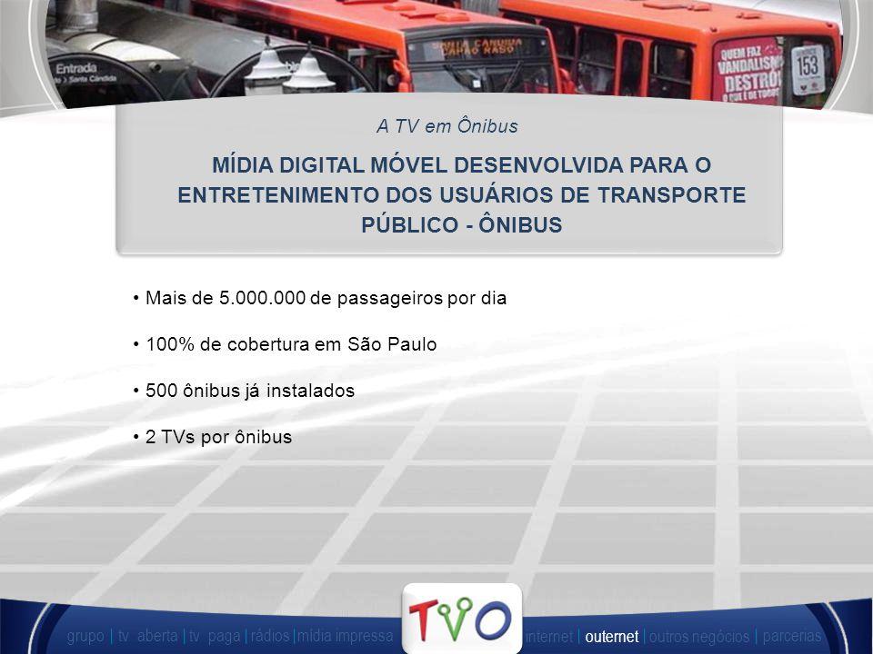 Mais de 5.000.000 de passageiros por dia 100% de cobertura em São Paulo 500 ônibus já instalados 2 TVs por ônibus MÍDIA DIGITAL MÓVEL DESENVOLVIDA PARA O ENTRETENIMENTO DOS USUÁRIOS DE TRANSPORTE PÚBLICO - ÔNIBUS A TV em Ônibus grupo tv abertatv paga rádiosmídia impressa outros negócios parcerias internet outernet