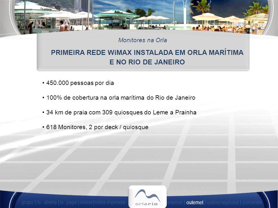 450.000 pessoas por dia 100% de cobertura na orla marítima do Rio de Janeiro 34 km de praia com 309 quiosques do Leme a Prainha 618 Monitores, 2 por deck / quiosque PRIMEIRA REDE WiMAX INSTALADA EM ORLA MARÍTIMA E NO RIO DE JANEIRO Monitores na Orla grupo tv abertatv paga rádiosmídia impressa outros negócios parcerias internet outernet