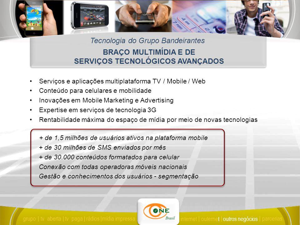 BRAÇO MULTIMÍDIA E DE SERVIÇOS TECNOLÓGICOS AVANÇADOS Tecnologia do Grupo Bandeirantes Serviços e aplicações multiplataforma TV / Mobile / Web Conteúdo para celulares e mobilidade Inovações em Mobile Marketing e Advertising Expertise em serviços de tecnologia 3G Rentabilidade máxima do espaço de mídia por meio de novas tecnologias + de 1,5 milhões de usuários ativos na plataforma mobile + de 30 milhões de SMS enviados por mês + de 30.000 conteúdos formatados para celular Conexão com todas operadoras móveis nacionais Gestão e conhecimentos dos usuários - segmentação grupo tv abertatv paga rádiosmídia impressa outros negócios parcerias internet outernet