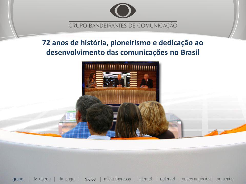 72 anos de história, pioneirismo e dedicação ao desenvolvimento das comunicações no Brasil grupo tv abertatv paga rádios mídia impressaoutros negóciosparcerias internet outernet