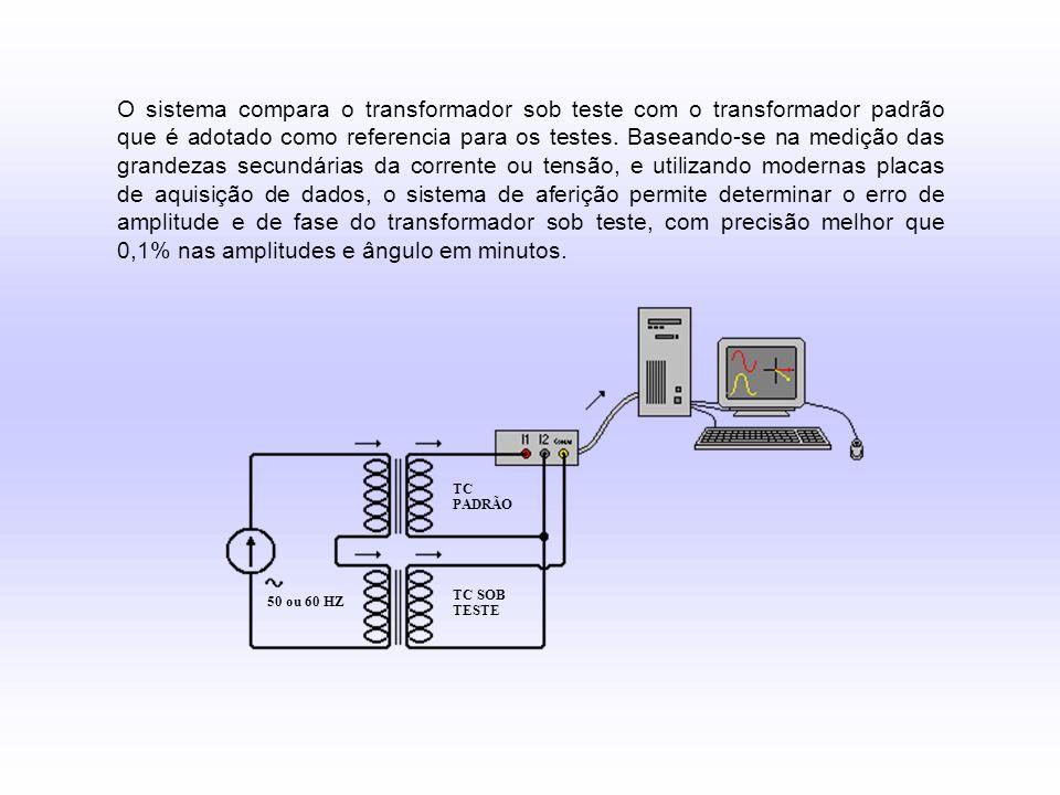 O sistema compara o transformador sob teste com o transformador padrão que é adotado como referencia para os testes. Baseando-se na medição das grande