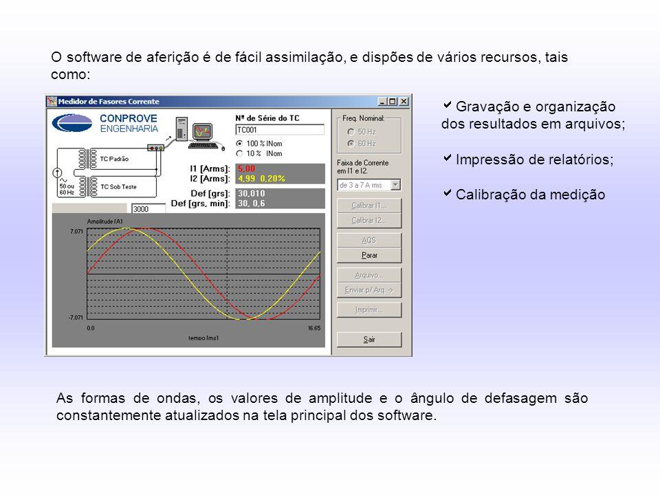 O software de aferição é de fácil assimilação, e dispões de vários recursos, tais como:  Gravação e organização dos resultados em arquivos;  Impress