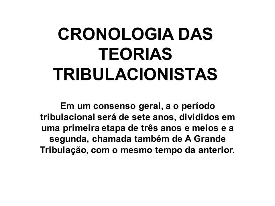 CRONOLOGIA DAS TEORIAS TRIBULACIONISTAS Em um consenso geral, a o período tribulacional será de sete anos, divididos em uma primeira etapa de três anos e meios e a segunda, chamada também de A Grande Tribulação, com o mesmo tempo da anterior.