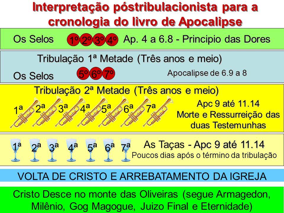 Os Selos 5º6º7º Tribulação 1ª Metade (Três anos e meio) Apocalipse de 6.9 a 8 Tribulação 2ª Metade (Três anos e meio) Interpretação póstribulacionista para a cronologia do livro de Apocalipse 1ª1ª 2ª2ª 3ª3ª 4ª4ª 5ª5ª 6ª6ª 7ª7ª Apc 9 até 11.14 Morte e Ressurreição das duas Testemunhas 1ª 2ª2ª 3ª3ª 4ª4ª 5ª5ª 6ª6ª 7ª7ª VOLTA DE CRISTO E ARREBATAMENTO DA IGREJA 1º2º3º4º Ap.