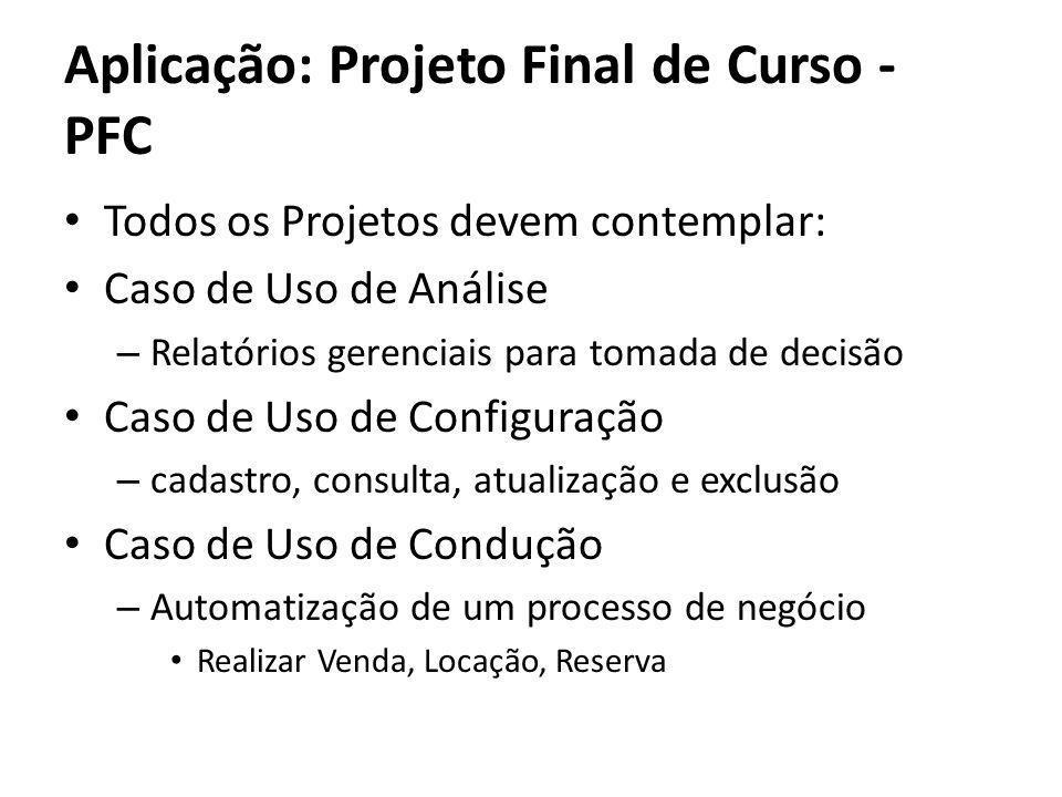 Todos os Projetos devem contemplar: Caso de Uso de Análise – Relatórios gerenciais para tomada de decisão Caso de Uso de Configuração – cadastro, cons