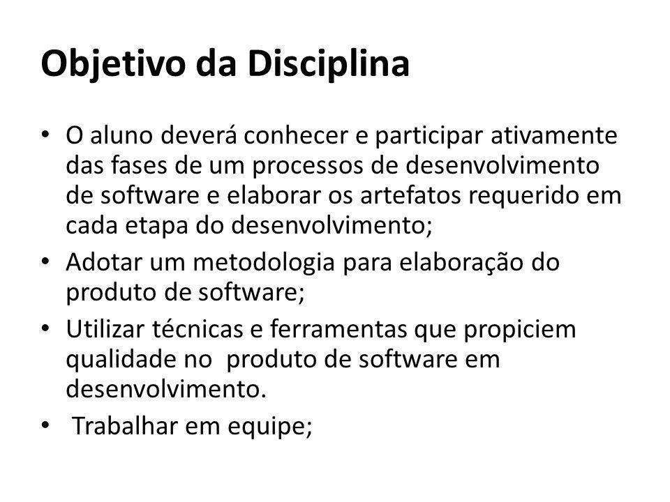 Objetivo da Disciplina O aluno deverá conhecer e participar ativamente das fases de um processos de desenvolvimento de software e elaborar os artefato