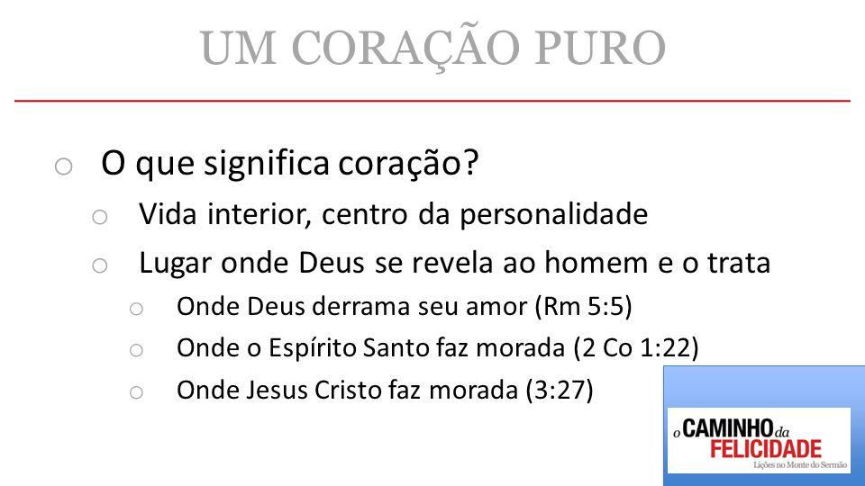 UM CORAÇÃO PURO o O que significa coração? o Vida interior, centro da personalidade o Lugar onde Deus se revela ao homem e o trata o Onde Deus derrama