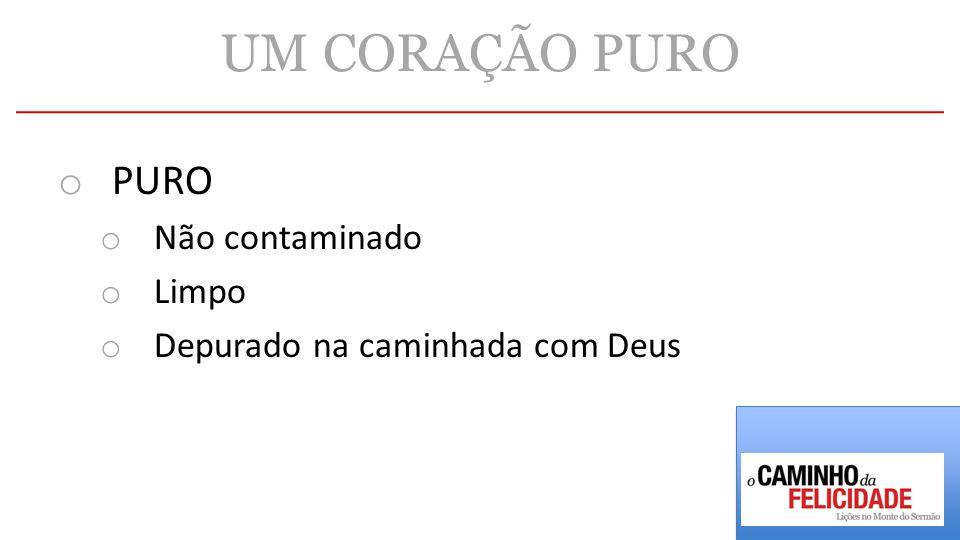 UM CORAÇÃO PURO o PURO o Não contaminado o Limpo o Depurado na caminhada com Deus