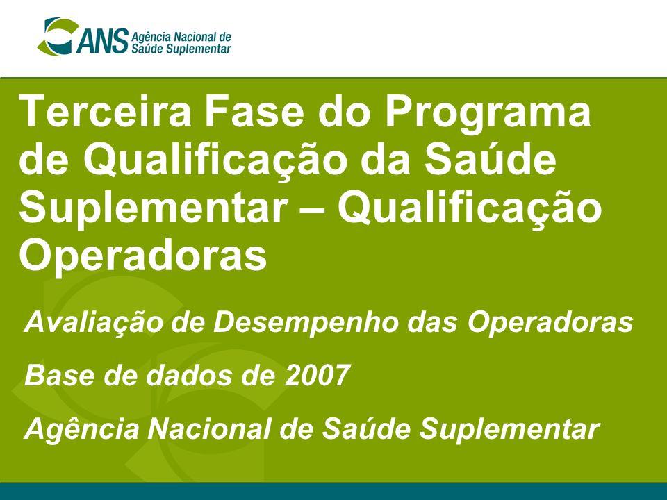 Terceira Fase do Programa de Qualificação da Saúde Suplementar – Qualificação Operadoras Avaliação de Desempenho das Operadoras Base de dados de 2007 Agência Nacional de Saúde Suplementar