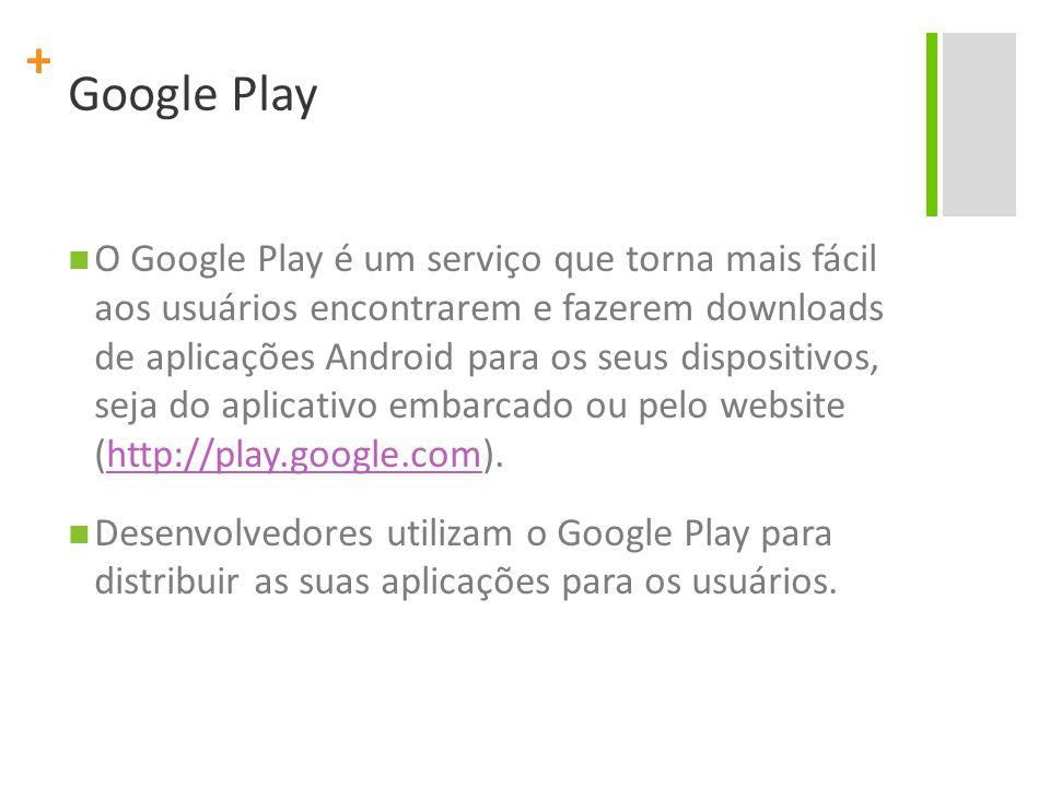 + Google Play O Google Play é um serviço que torna mais fácil aos usuários encontrarem e fazerem downloads de aplicações Android para os seus dispositivos, seja do aplicativo embarcado ou pelo website (http://play.google.com).http://play.google.com Desenvolvedores utilizam o Google Play para distribuir as suas aplicações para os usuários.