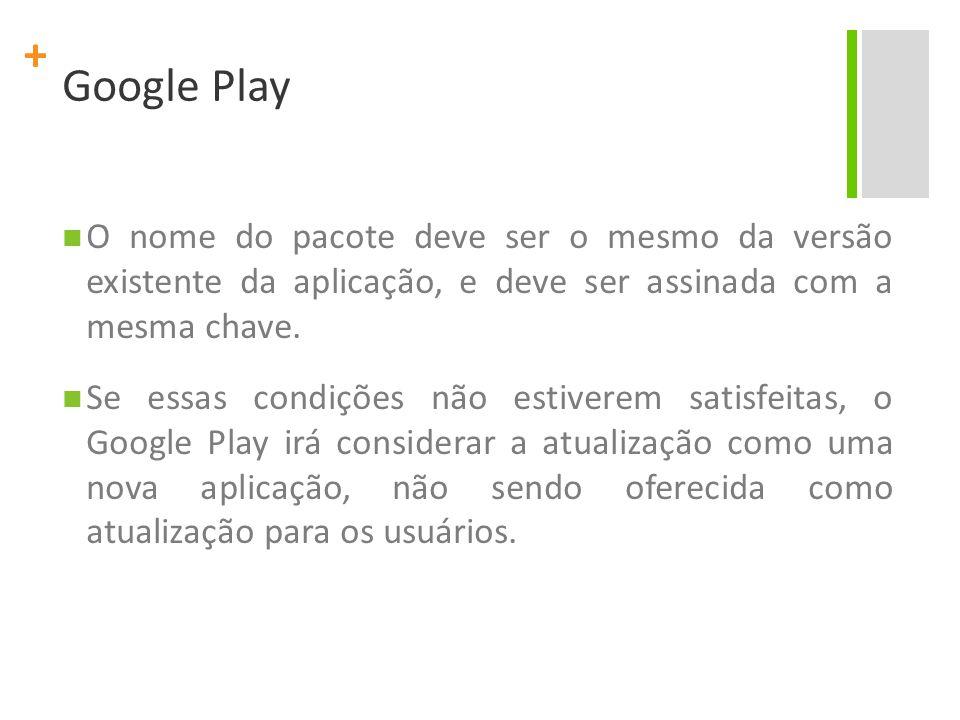 + Google Play O nome do pacote deve ser o mesmo da versão existente da aplicação, e deve ser assinada com a mesma chave.