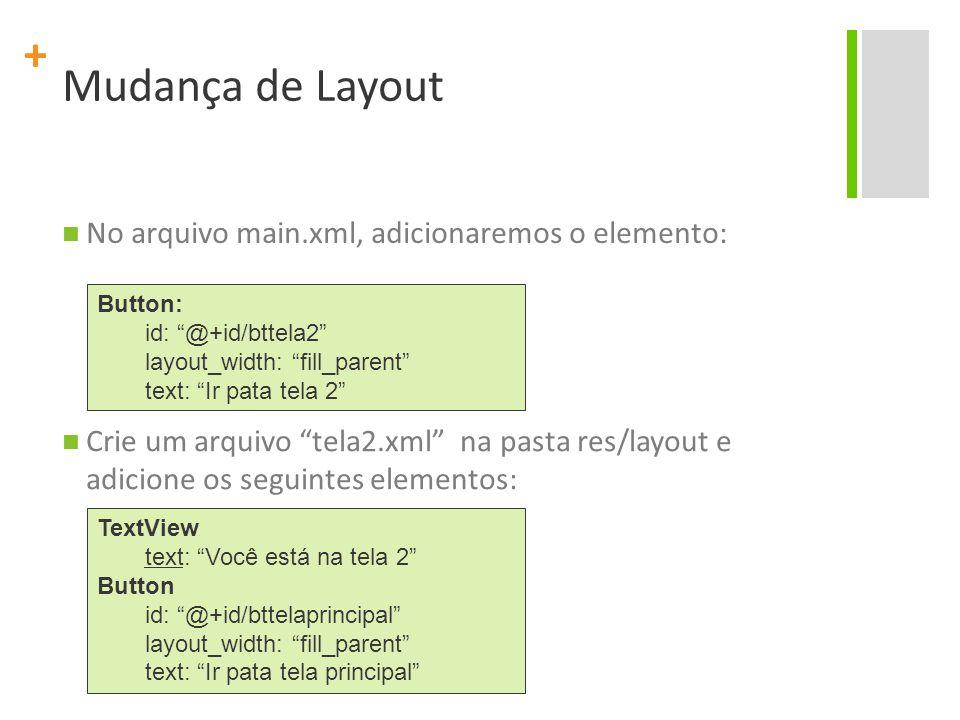 + No arquivo main.xml, adicionaremos o elemento: Button: id: @+id/bttela2 layout_width: fill_parent text: Ir pata tela 2 Crie um arquivo tela2.xml na pasta res/layout e adicione os seguintes elementos: TextView text: Você está na tela 2 Button id: @+id/bttelaprincipal layout_width: fill_parent text: Ir pata tela principal