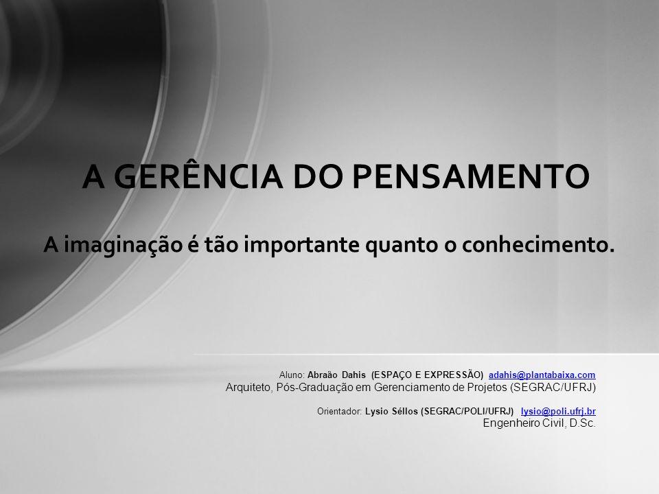 A imaginação é tão importante quanto o conhecimento. A GERÊNCIA DO PENSAMENTO Aluno: Abraão Dahis (ESPAÇO E EXPRESSÃO) adahis@plantabaixa.comadahis@pl