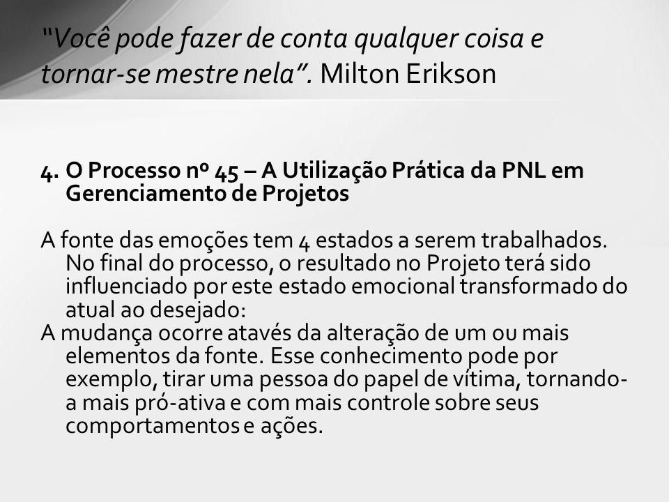 4. O Processo nº 45 – A Utilização Prática da PNL em Gerenciamento de Projetos A fonte das emoções tem 4 estados a serem trabalhados. No final do proc