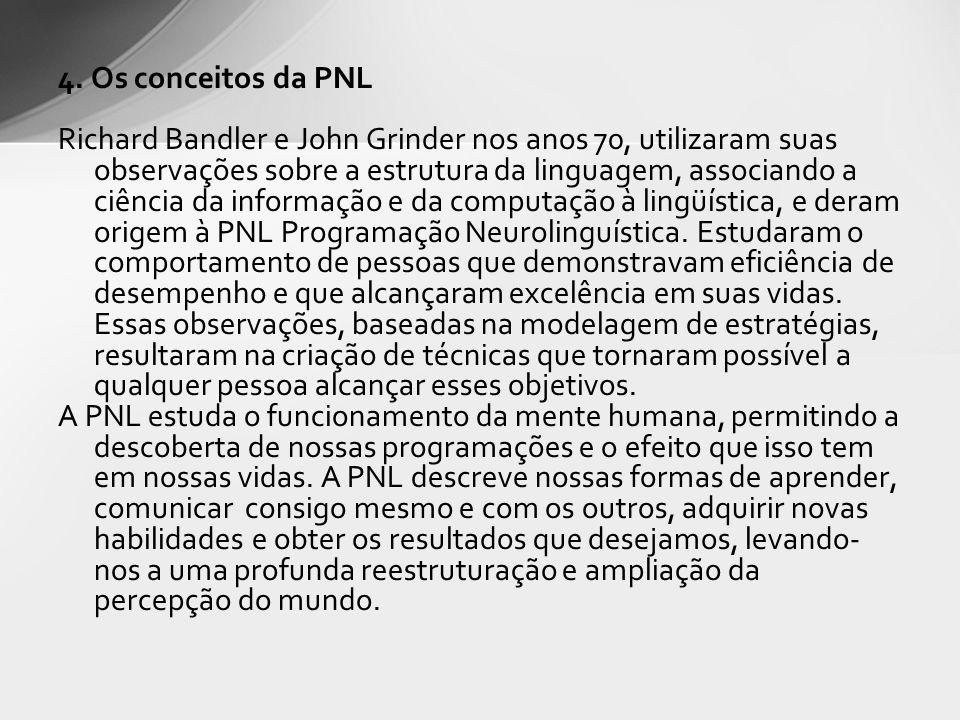 4. Os conceitos da PNL Richard Bandler e John Grinder nos anos 70, utilizaram suas observações sobre a estrutura da linguagem, associando a ciência da