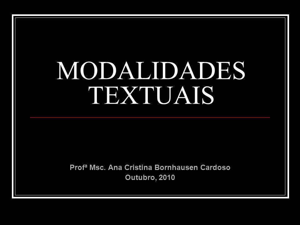 MODALIDADES TEXTUAIS Profª Msc. Ana Cristina Bornhausen Cardoso Outubro, 2010