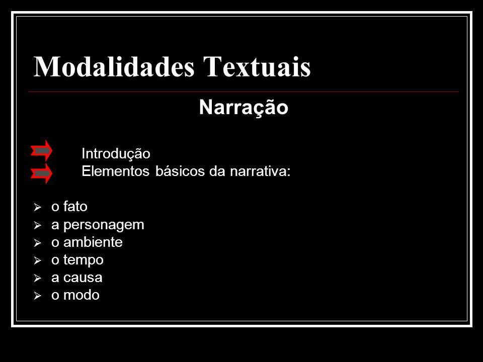 Modalidades Textuais Narração Introdução Elementos básicos da narrativa:  o fato  a personagem  o ambiente  o tempo  a causa  o modo