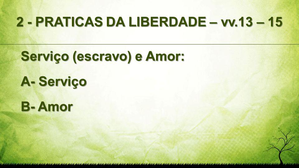 2 - PRATICAS DA LIBERDADE – vv.13 – 15 Serviço (escravo) e Amor: A- Serviço B- Amor