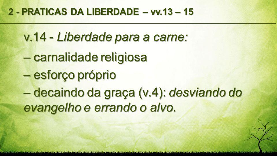 v.14 - Liberdade para a carne: – carnalidade religiosa – esforço próprio – decaindo da graça (v.4): desviando do evangelho e errando o alvo. 2 - PRATI