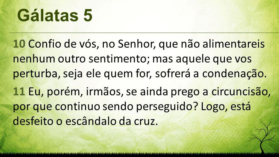 Gálatas 5 10 Confio de vós, no Senhor, que não alimentareis nenhum outro sentimento; mas aquele que vos perturba, seja ele quem for, sofrerá a condena