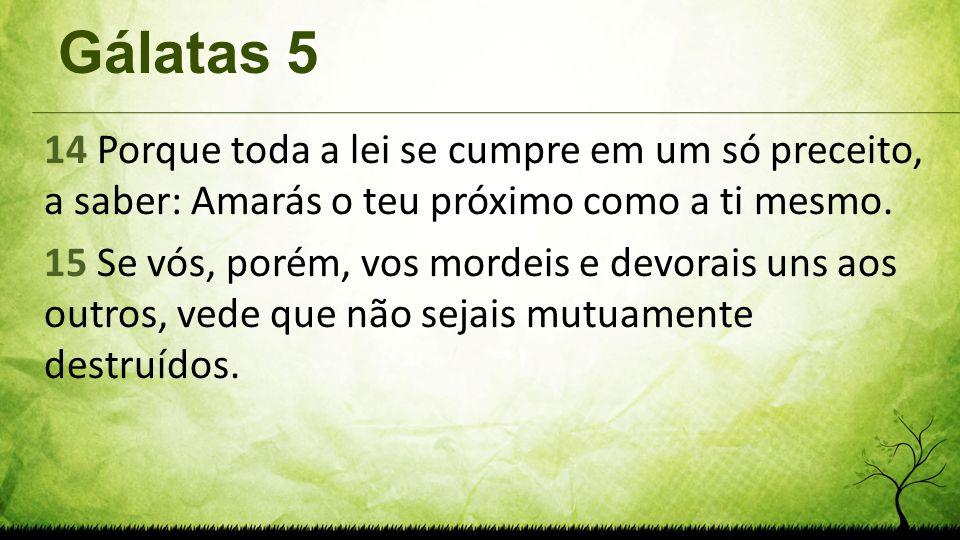 Gálatas 5 14 Porque toda a lei se cumpre em um só preceito, a saber: Amarás o teu próximo como a ti mesmo. 15 Se vós, porém, vos mordeis e devorais un