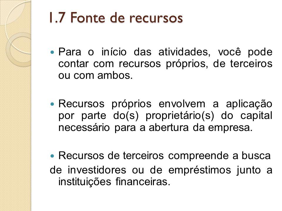 1.7 Fonte de recursos Para o início das atividades, você pode contar com recursos próprios, de terceiros ou com ambos.