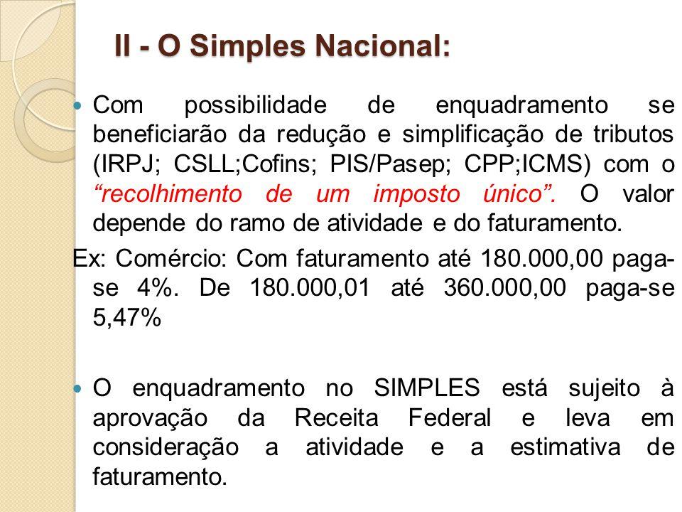 II - O Simples Nacional: Com possibilidade de enquadramento se beneficiarão da redução e simplificação de tributos (IRPJ; CSLL;Cofins; PIS/Pasep; CPP;ICMS) com o recolhimento de um imposto único .