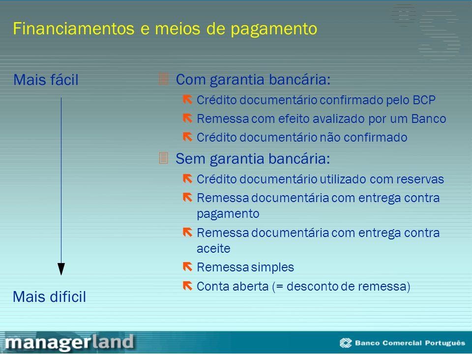 Financiamentos e meios de pagamento 3Com garantia bancária: ëCrédito documentário confirmado pelo BCP ëRemessa com efeito avalizado por um Banco ëCréd