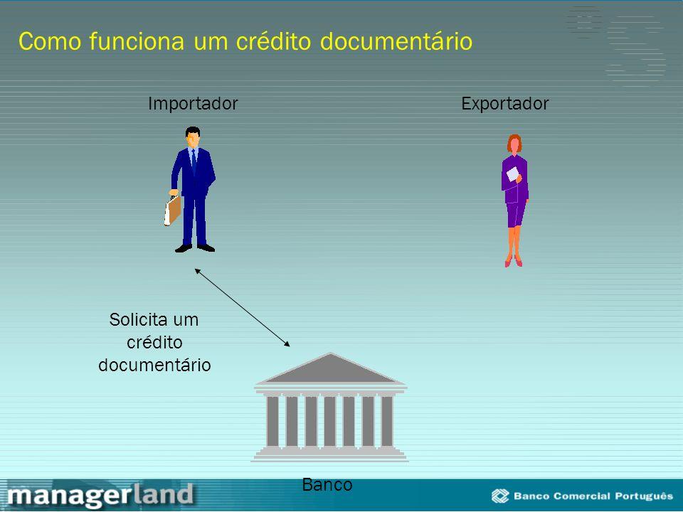Como funciona um crédito documentário Solicita um crédito documentário Importador Banco Exportador