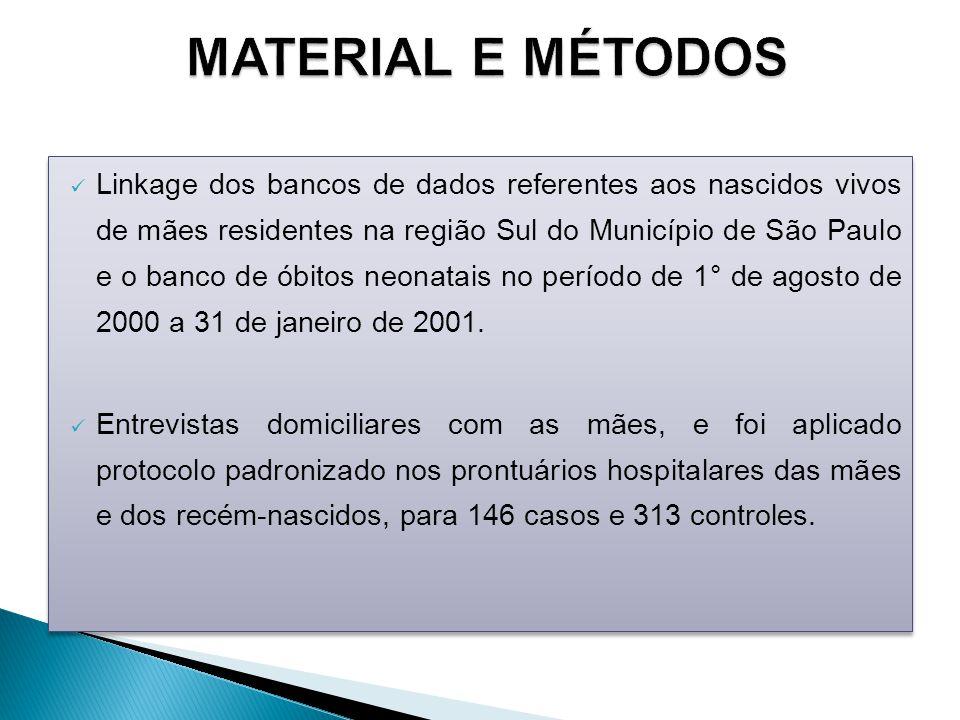 Linkage dos bancos de dados referentes aos nascidos vivos de mães residentes na região Sul do Município de São Paulo e o banco de óbitos neonatais no período de 1° de agosto de 2000 a 31 de janeiro de 2001.