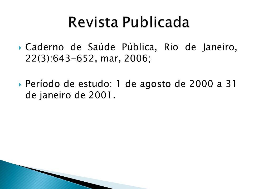  Caderno de Saúde Pública, Rio de Janeiro, 22(3):643-652, mar, 2006;  Período de estudo: 1 de agosto de 2000 a 31 de janeiro de 2001.