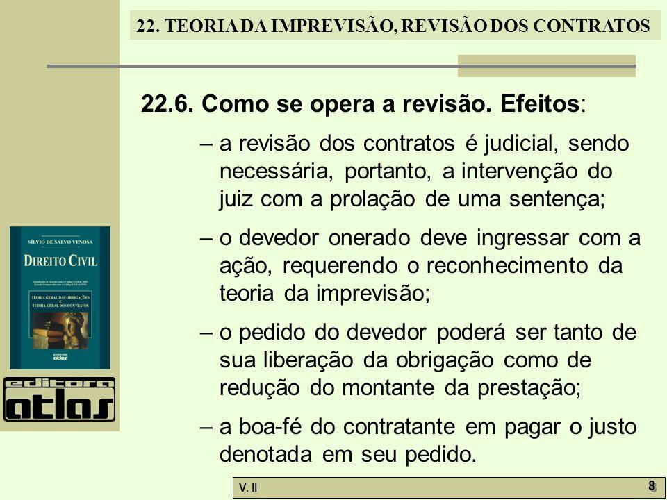 V.II 8 8 22. TEORIA DA IMPREVISÃO, REVISÃO DOS CONTRATOS 22.6.