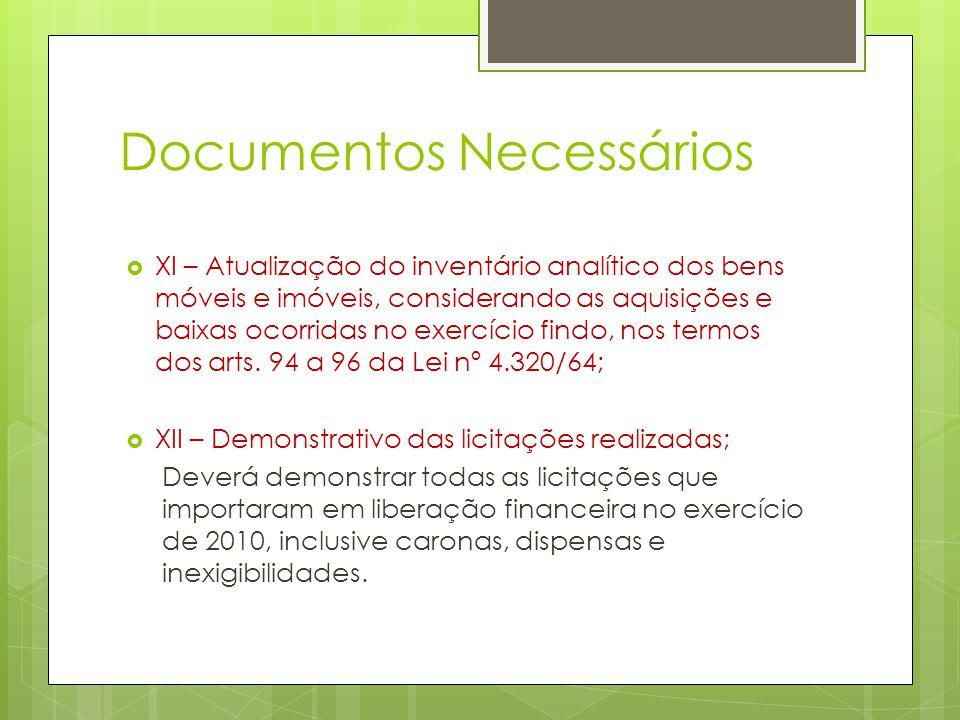 Documentos Necessários  XI – Atualização do inventário analítico dos bens móveis e imóveis, considerando as aquisições e baixas ocorridas no exercício findo, nos termos dos arts.