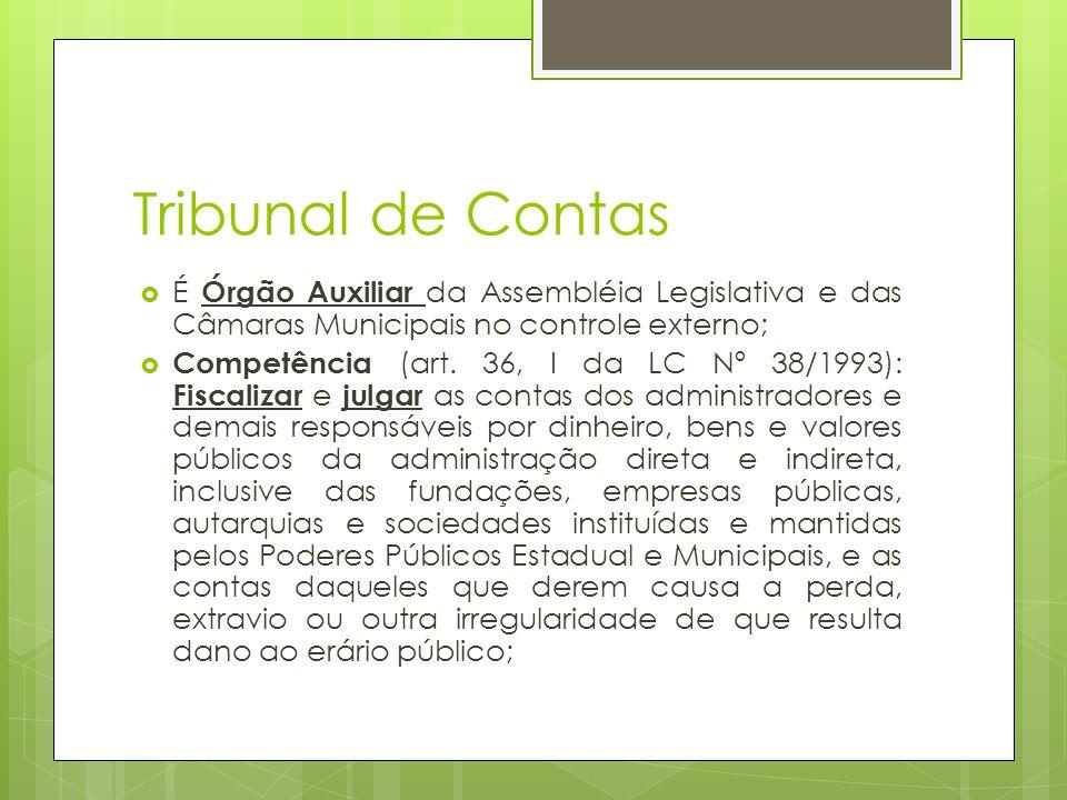 Tribunal de Contas  É Órgão Auxiliar da Assembléia Legislativa e das Câmaras Municipais no controle externo;  Competência (art.