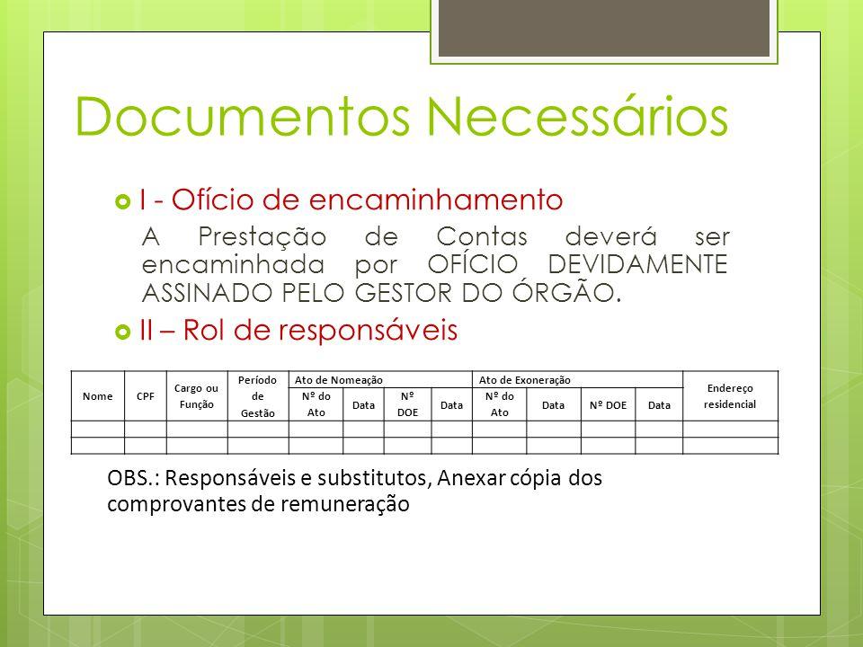 Documentos Necessários  I - Ofício de encaminhamento A Prestação de Contas deverá ser encaminhada por OFÍCIO DEVIDAMENTE ASSINADO PELO GESTOR DO ÓRGÃO.