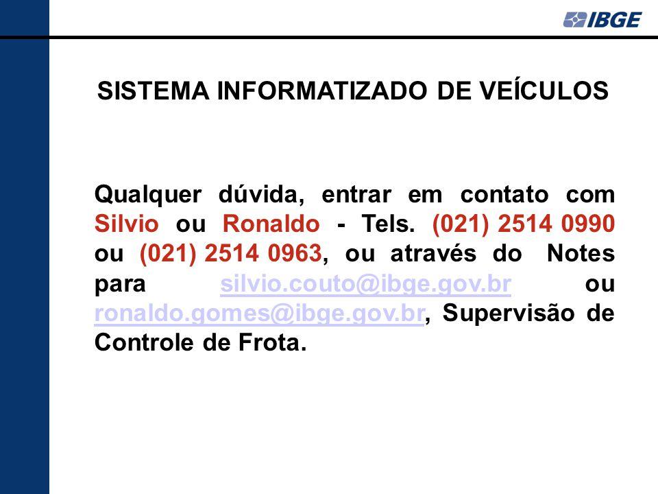 Qualquer dúvida, entrar em contato com Silvio ou Ronaldo - Tels.
