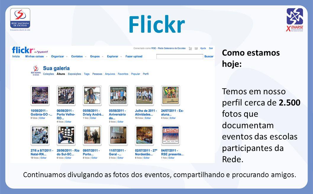 Flickr Como estamos hoje: Temos em nosso perfil cerca de 2.500 fotos que documentam eventos das escolas participantes da Rede. Continuamos divulgando