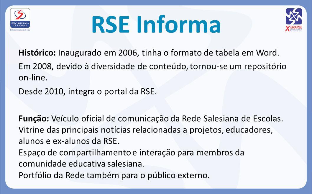 RSE Informa Histórico: Inaugurado em 2006, tinha o formato de tabela em Word. Em 2008, devido à diversidade de conteúdo, tornou-se um repositório on-l