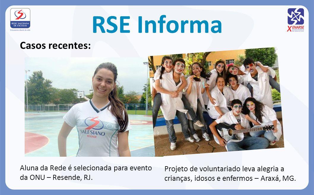 RSE Informa Casos recentes: Aluna da Rede é selecionada para evento da ONU – Resende, RJ. Projeto de voluntariado leva alegria a crianças, idosos e en