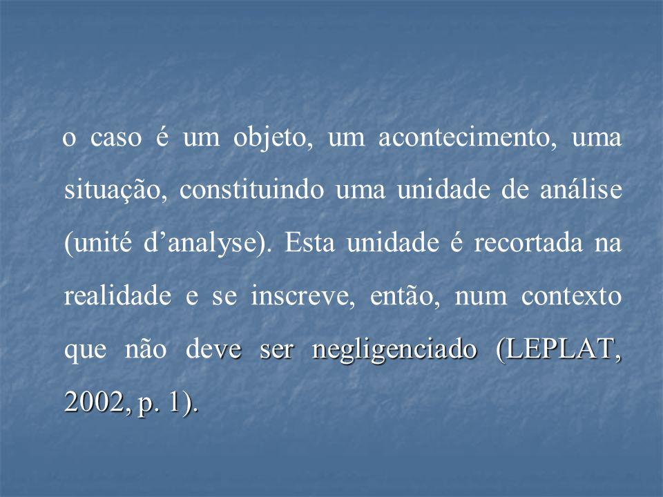ve ser negligenciado (LEPLAT, 2002, p. 1). o caso é um objeto, um acontecimento, uma situação, constituindo uma unidade de análise (unité d'analyse).